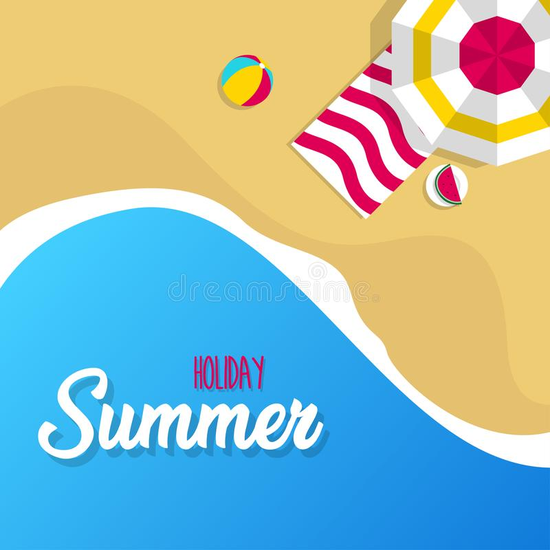 Happy summer holiday in  the beach illustration. Tropical holiday in summer illustration stock illustration