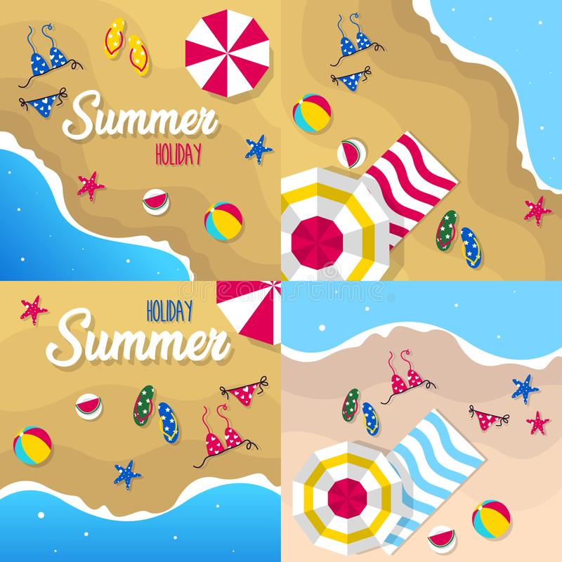 Happy summer holiday in  the beach illustration. Tropical holiday in summer illustration vector illustration