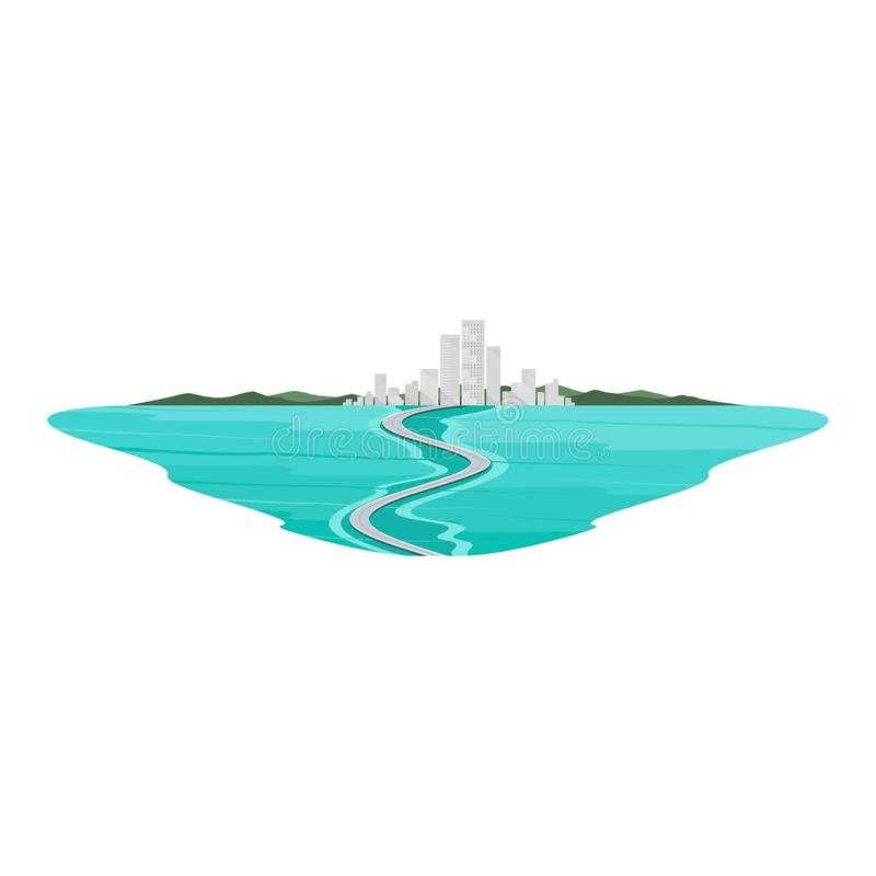Bridge across the Sea Island Landscape royalty free illustration