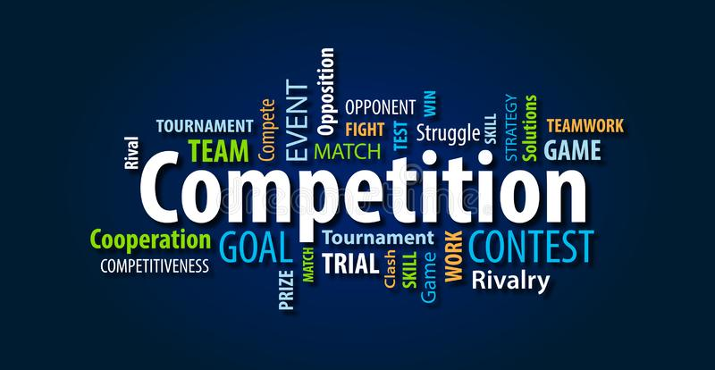 Blue Competition Word Cloud. On a Blue Background royalty free illustration