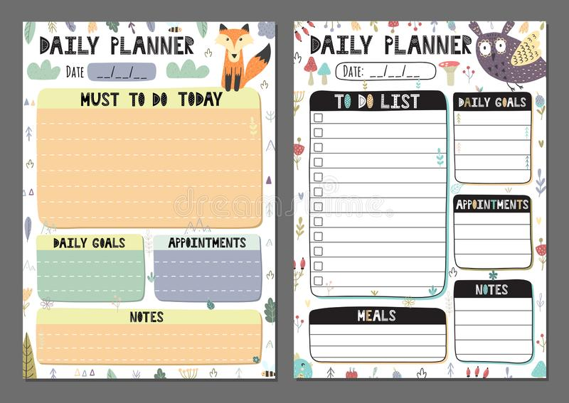 Daily planners collection. To do list set with a cute owl and fox stock illustration