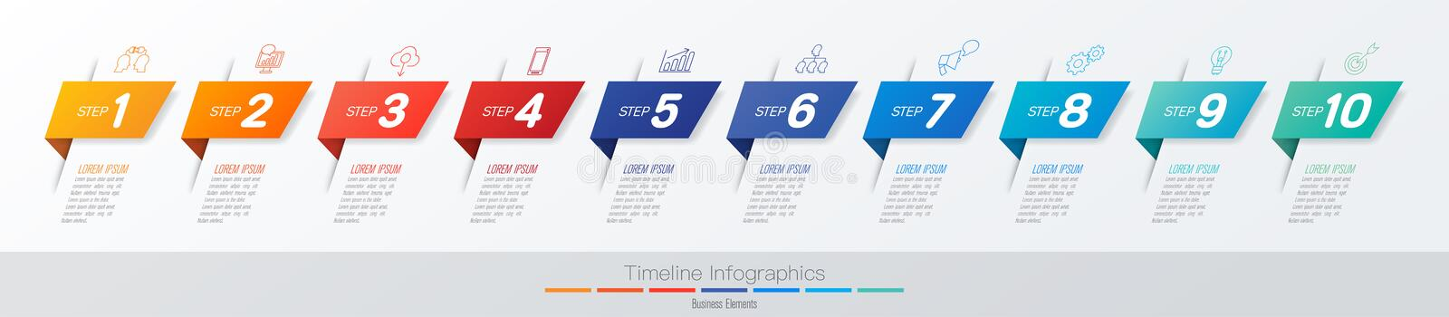 Timeline infographics design vector and marketing icons, Business concept with 10 options, steps or processes. stock illustration