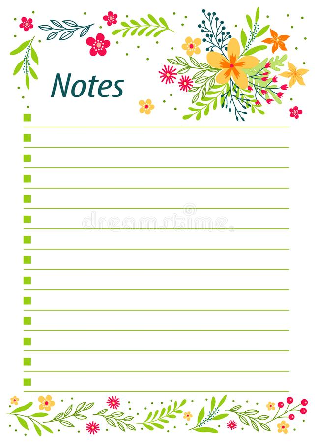 Cute notes with flowers vector illustrations. Template for party organization, greeting and journal cards, invitations, gifts decoration, stationery. - Vector stock illustration