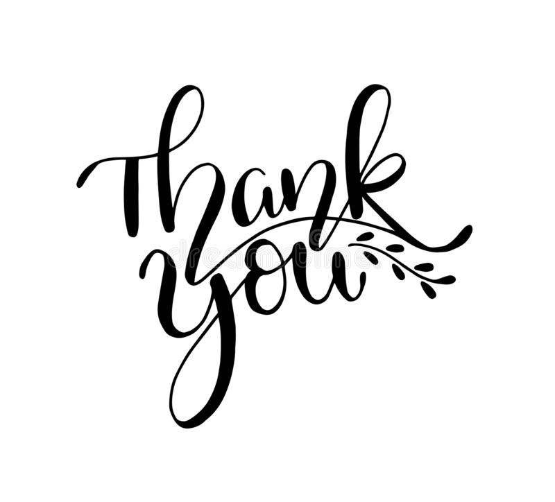 Thank you - Hand sketched lettering typography. Hand drawn Thank you lettering sign. Badge, icon, banner, tag vector illustration