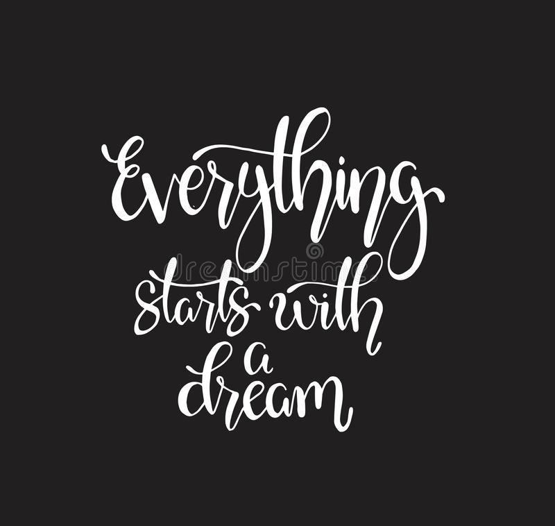 Hand drawn words. Brush pen lettering with phrase Everything starts with a dream. Motivational quotes, vector illustration vector illustration