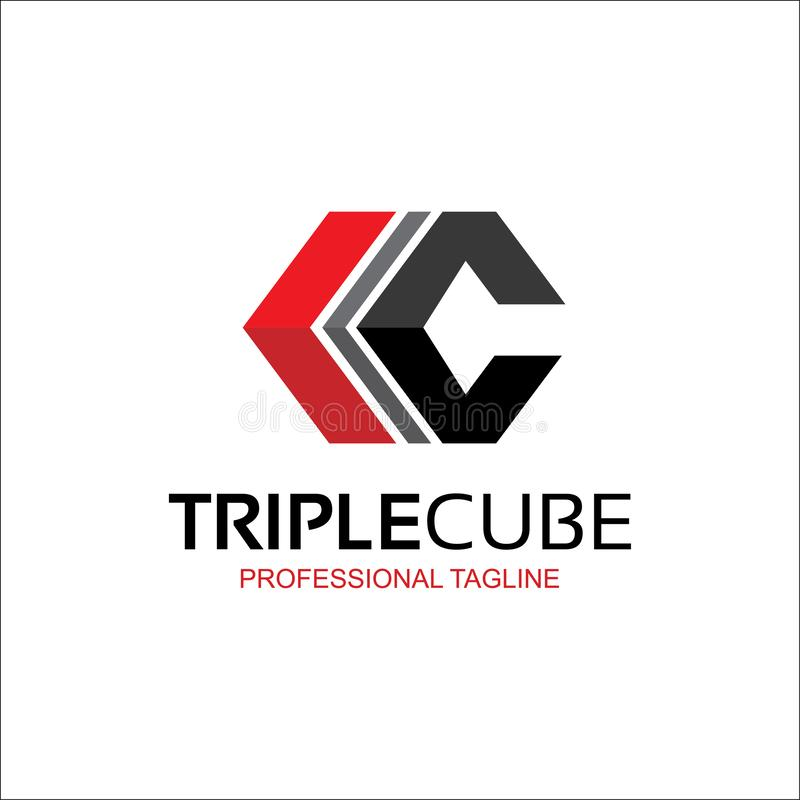 Triple cube, abstract C letter logo. royalty free illustration