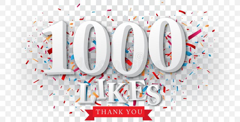 Thank you for likes banner over the confetti royalty free illustration