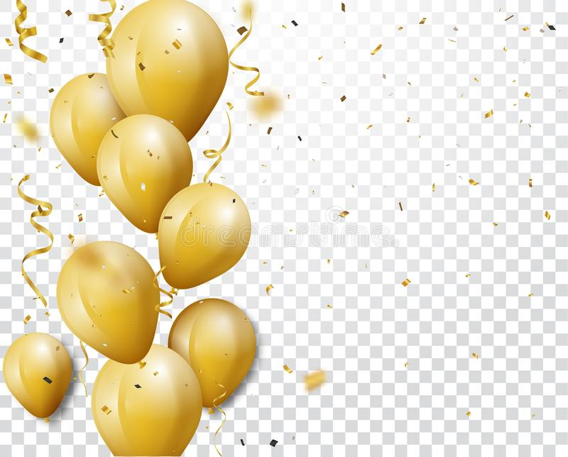 Celebration background with gold confetti and balloons royalty free illustration