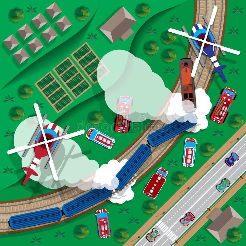 Train wreck. stock illustration