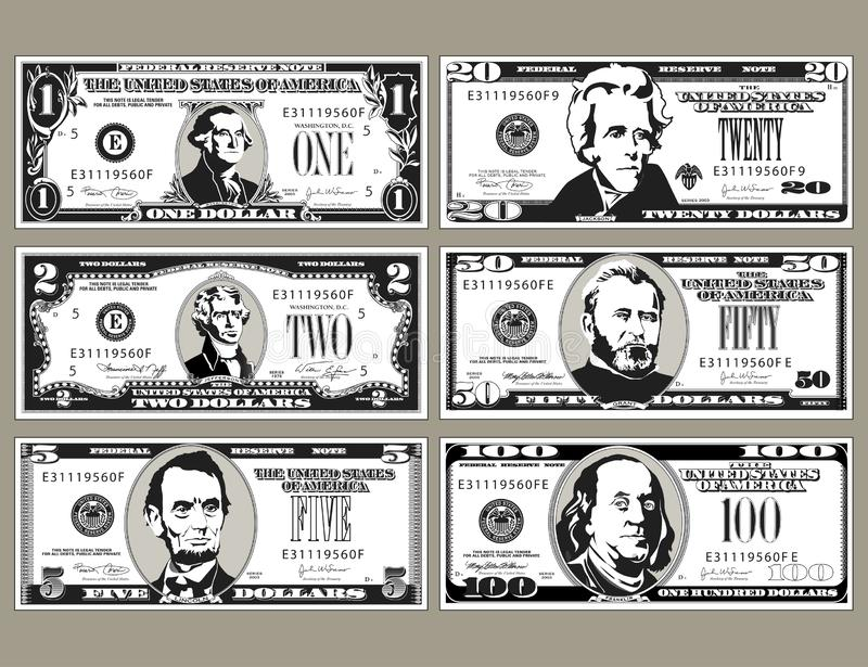 Six detailed, stylized drawings of bills stock illustration