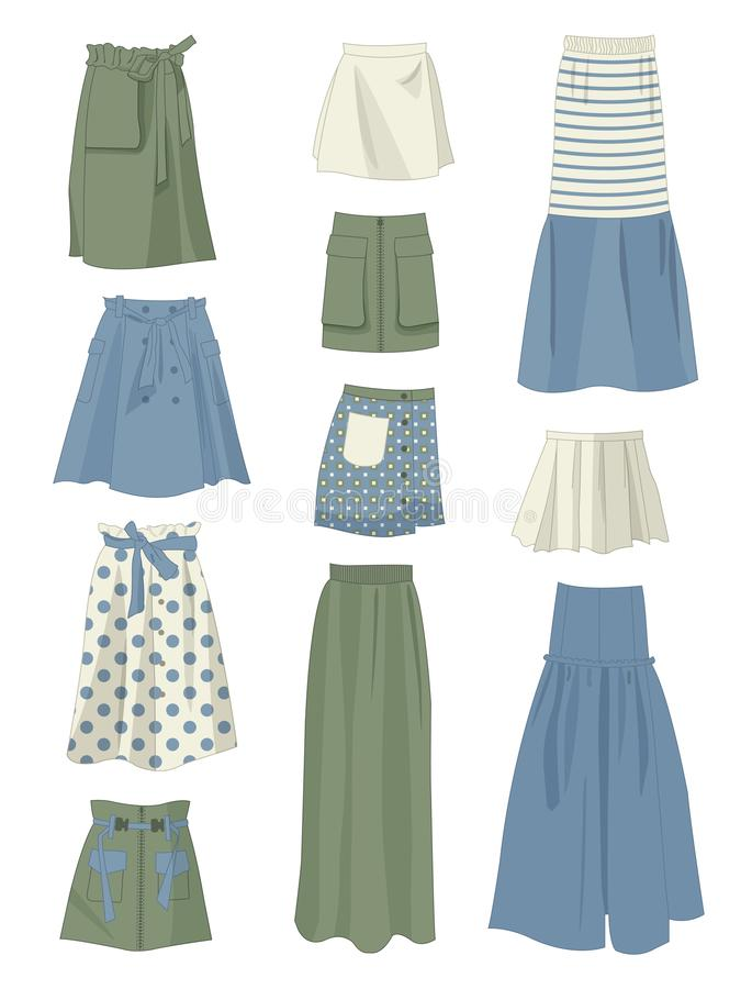 Set of skirts loose and with pockets. Different models, isolated on white background royalty free illustration