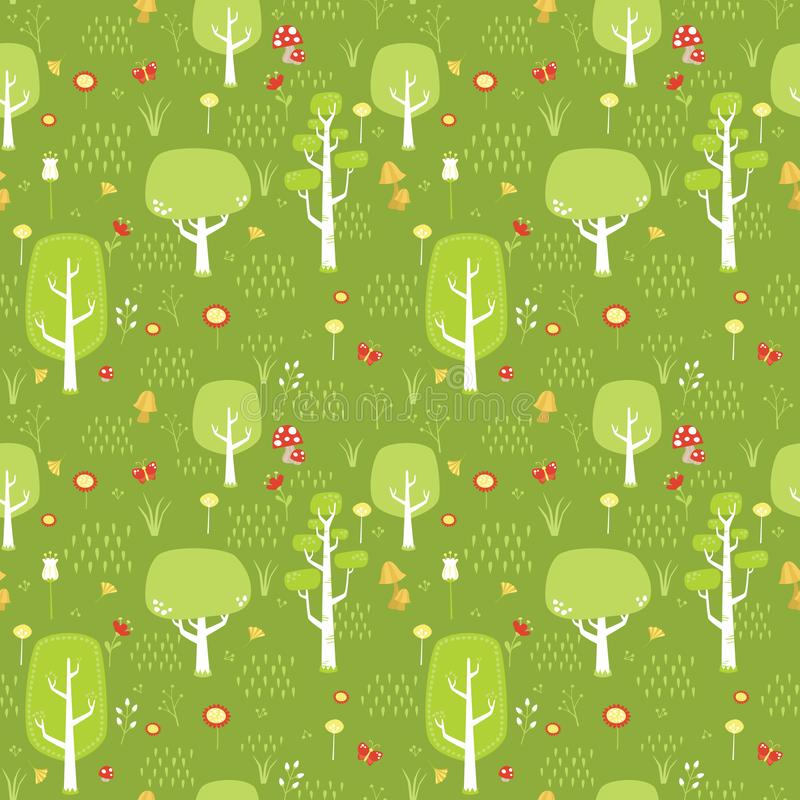 Green Forest with Trees, Flowers, Mushrooms, Butterfly and Grass Seamless Pattern Digital Paper Vector Flat Illustration. Green forest with flowers mushrooms and stock illustration