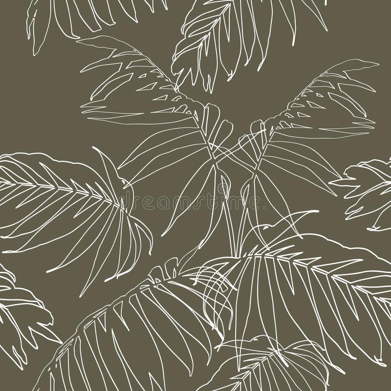 Nature seamless pattern. Hand drawn tropical summer background: white palm tree leaves, line art. royalty free illustration