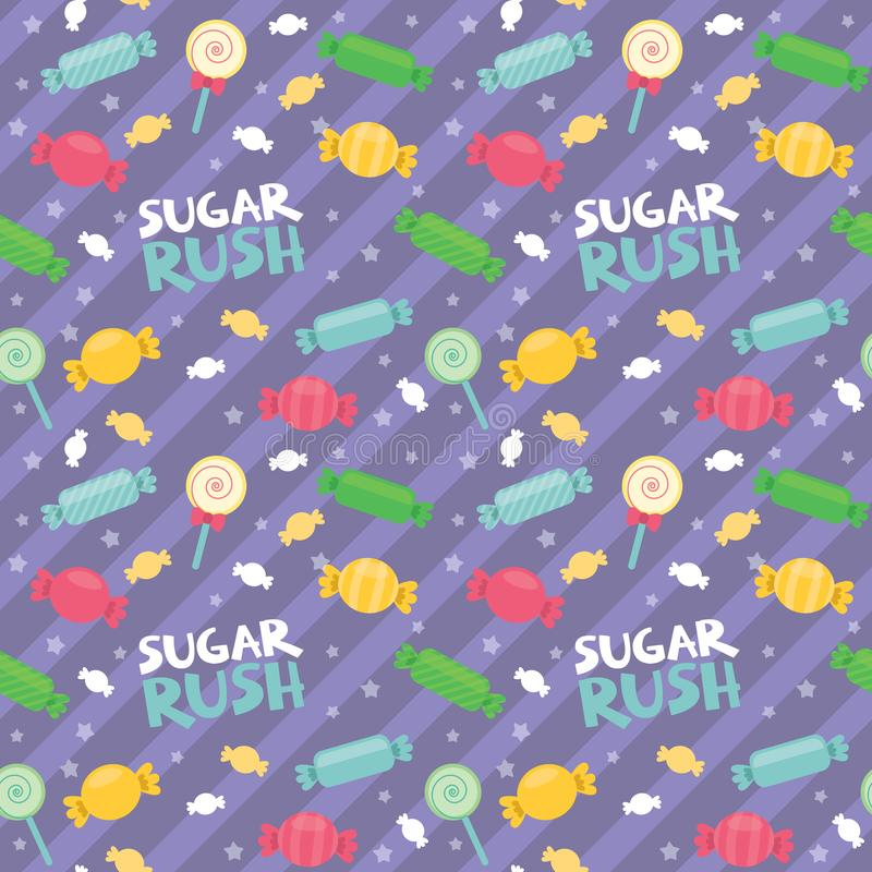 Sugar Rush Text Candy Lolly Pop Diagonal Stripes Cute Colorful Seamless Pattern Flat Vector Illustration royalty free illustration