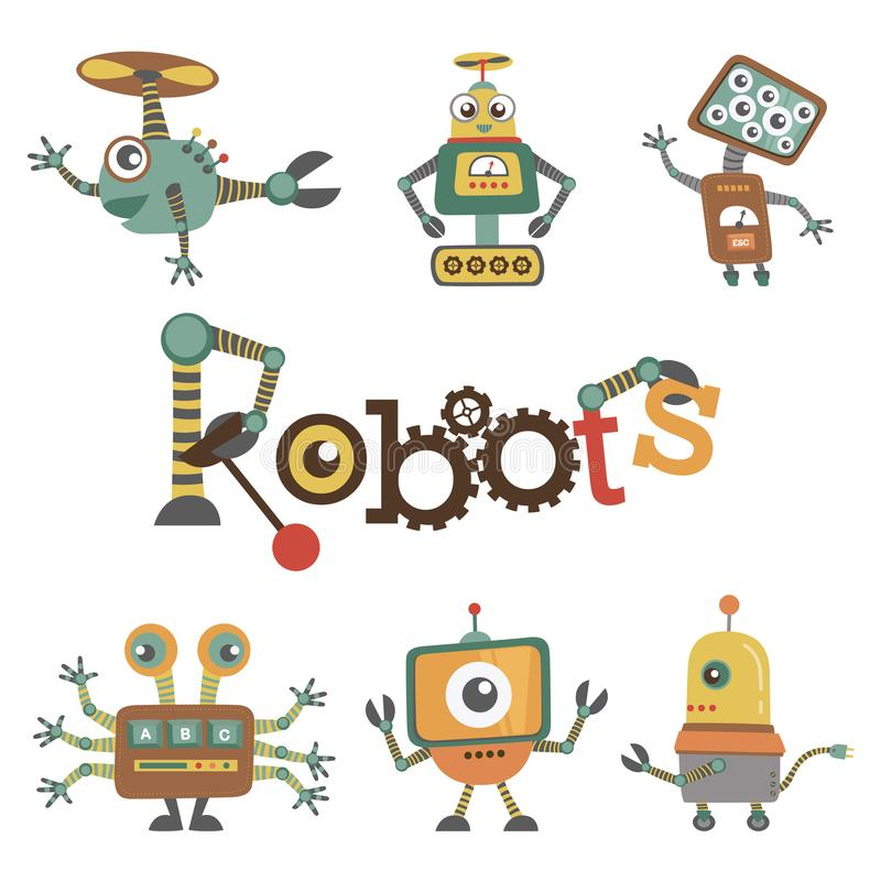 Retro Robots Design Set Flat Vector Illustration Isolated on White vector illustration