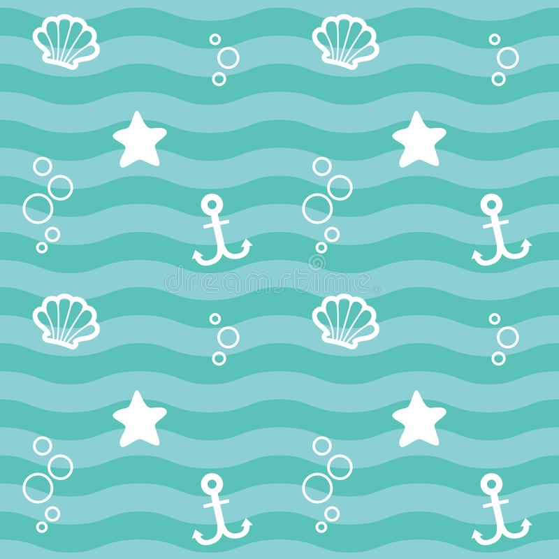 Nautical Blue Green Wave Seamless Pattern with White Elements: Shell, Starfish and Anchor Design Vector Illustration stock illustration