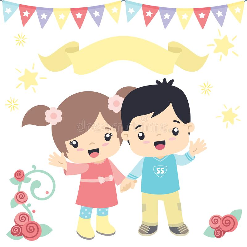 Cute Little Boy and Girl Holding Hands Birthday Festive Theme Design Elements Vector Illustration Isolated on White vector illustration
