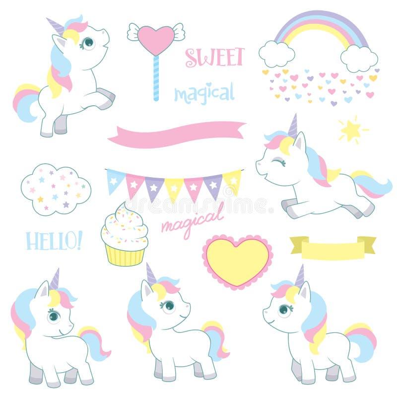 Cute Fairy Tale Fantasy Baby Unicorns Birthday Design Elements Set Vector Illustration Isolated on White. Cute fantasy baby unicorn fairy tale birthday design stock illustration