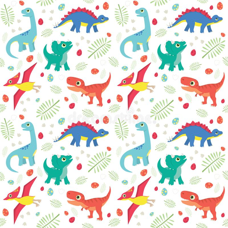 Cute Colorful Baby Dinosaurs on White Background Seamless Pattern Flat Vector Illustration. Cute colorful baby dinosaurs on white background seamless pattern stock illustration