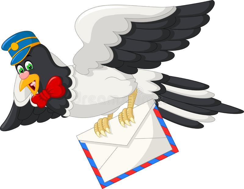 Funny Flying Dove With Mail Cartoon royalty free illustration