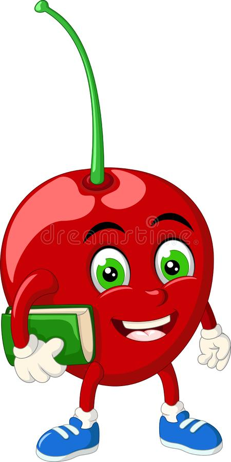 Funny Red Cherry With Book Cartoon. For Your Design vector illustration