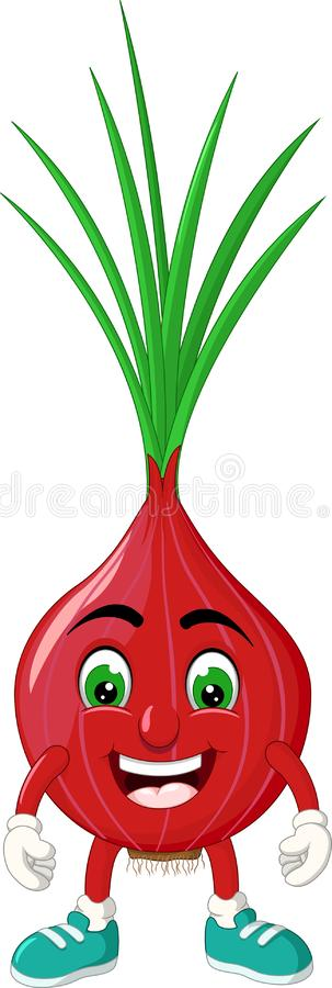 Funny Red Onion Cartoon stock illustration
