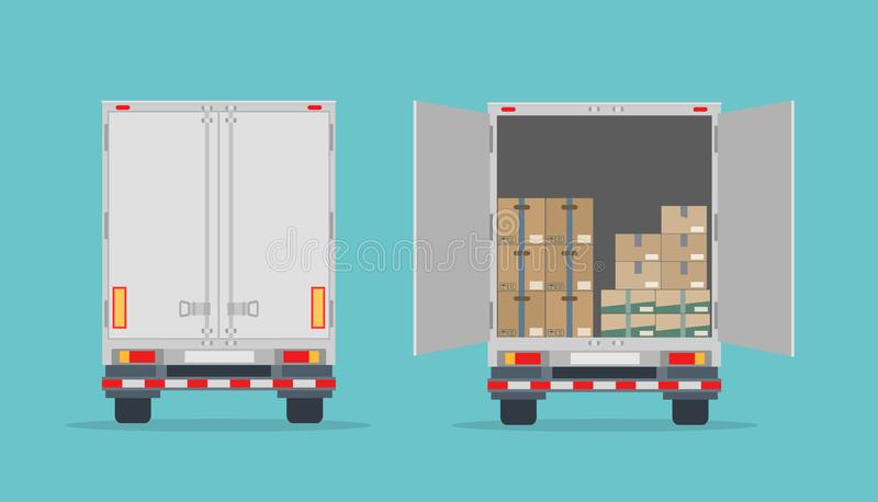 Open delivery truck with cardboard boxes and closed truck. Isolated on blue background. royalty free illustration