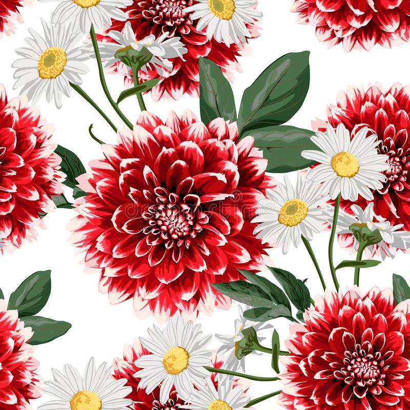 Floral seamless pattern with hand drawn red dahlias and camomile flowers with leaves. vector illustration