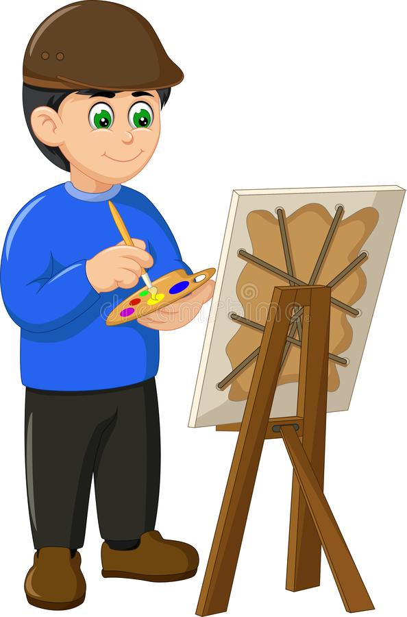 Funny Painter In Blue Sweater Cartoon royalty free illustration