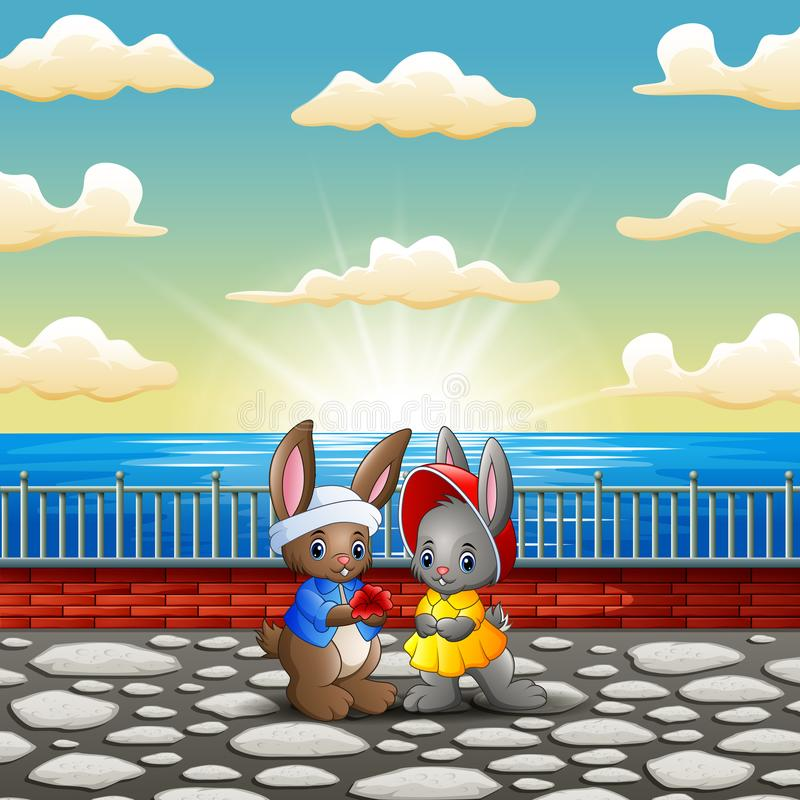 Couple rabbit cartoon in the riverbank with sunset background vector illustration
