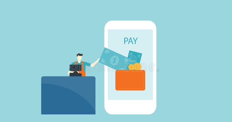 Flat vector banner design business mobile payment royalty free illustration