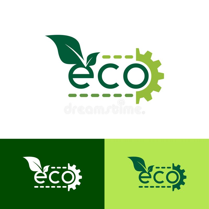 Eco Green Gear Logo Design Template - Vector stock illustration