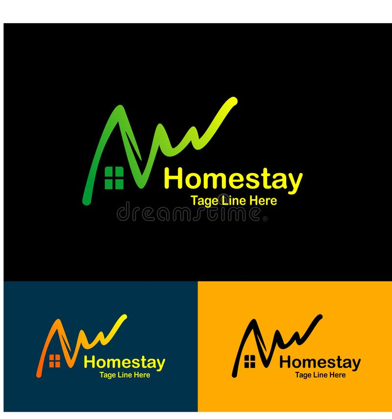 Homestay logo natural, simple logo icon homestay background - Vector stock illustration