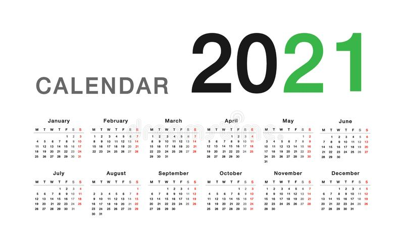 Colorful Year 2021 calendar horizontal vector design template, simple and clean design. royalty free illustration