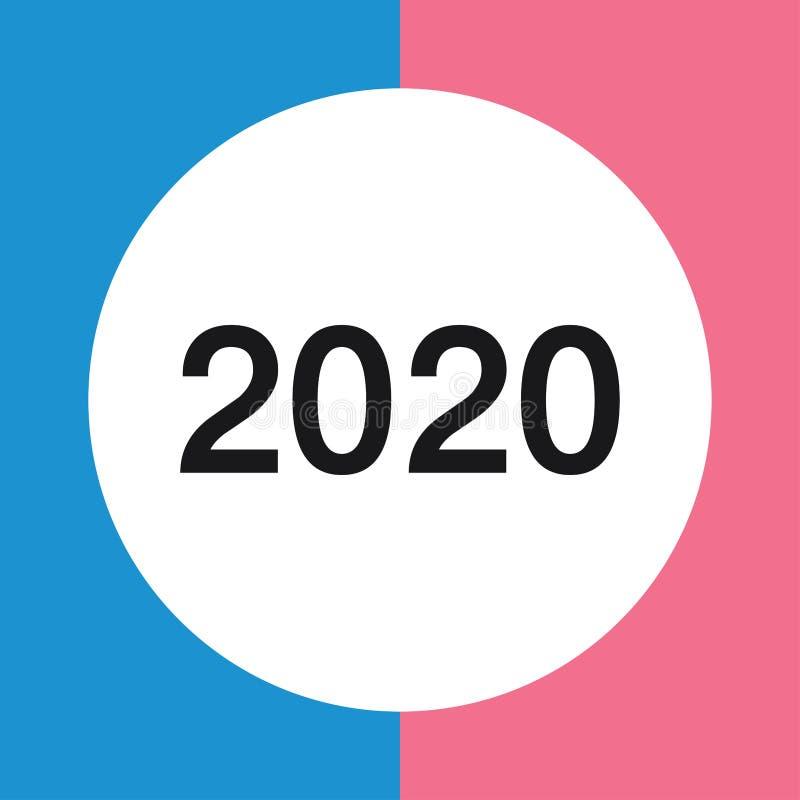 Flat calendar year 2020 icon. Happy New year. Happy New Year 2020. Tear-off calendar icon in flat style on gray background vector illustration