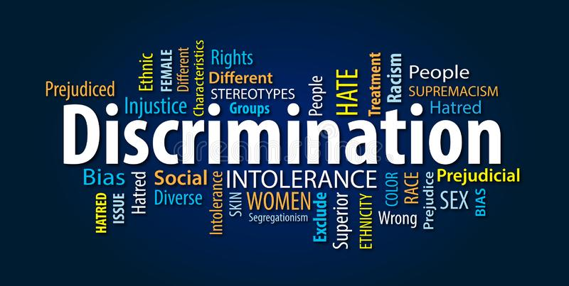 Discrimination Word Cloud stock photography