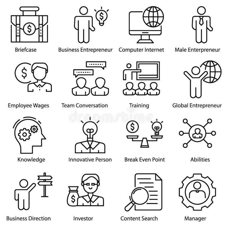 Entrepreneur Icons Set. Entrepreneur icons pack in filled design is here. All icons are highly customized to meet your needs. Completely editable and easy to stock illustration