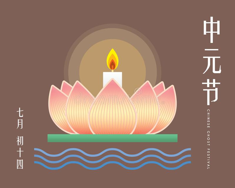 Chinese Ghost Festival illustration of floating lotus lantern. Caption: Zhong Yuan Jie ; 14th of July royalty free illustration
