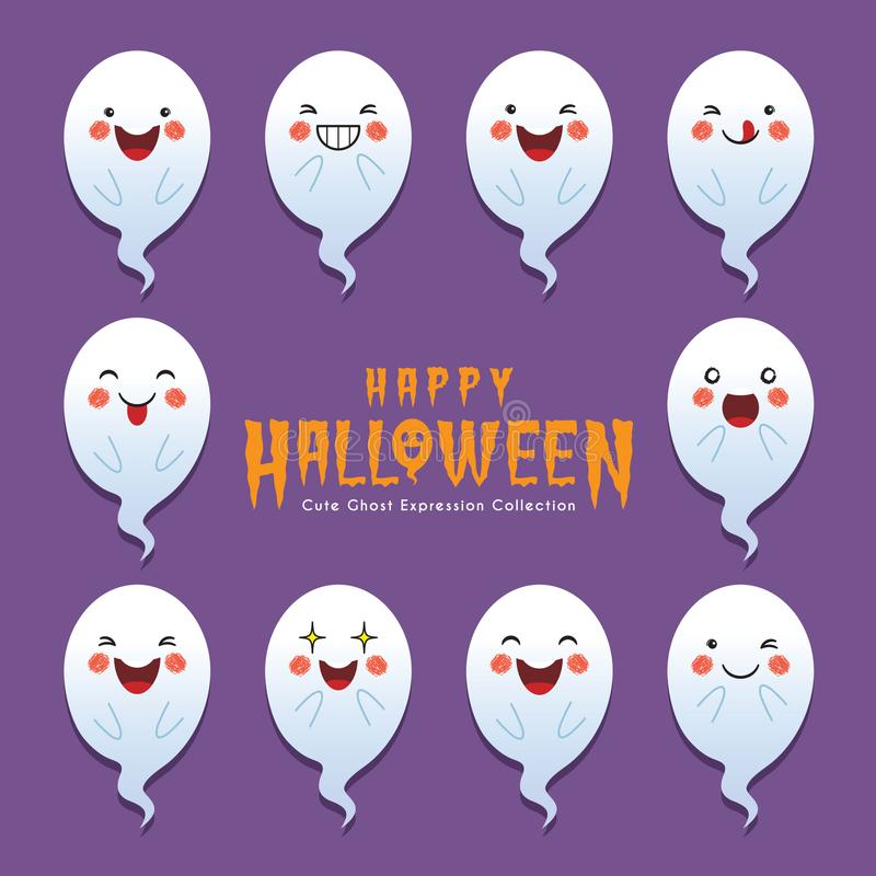 Cute halloween ghost with different face expression vector illustration