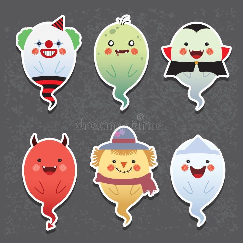 Cartoon Halloween ghosts - clown, zombie, vampire, devil, scarecrow & japanese ghost stock illustration