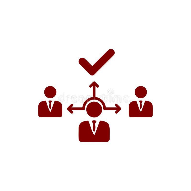 Business decision, business plan, decision making, management, plan, planning, strategy maroon color icon. Business decision, business plan, decision making royalty free illustration