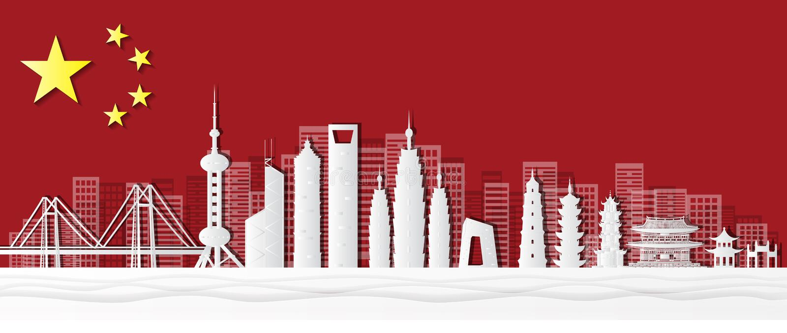 Shanghai, China Postcards of world-famous landmarks, panoramas, tours, world-famous places in paper cut style vector illustration royalty free illustration
