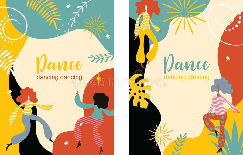 Vertical banners with dancing women, stylized figures of dancing people. Vertical banners with dancing women stylized figures of dancing peoplen stock illustration