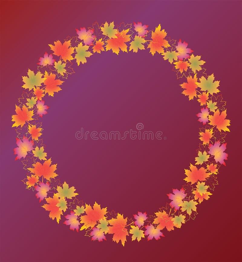 Autumn leaves border isolated on purple background. vector illustration