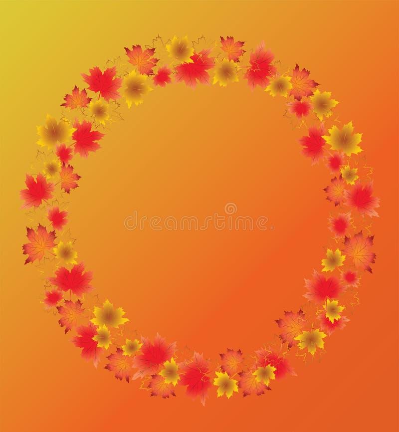 Autumn leaves border isolated on orange background. stock illustration