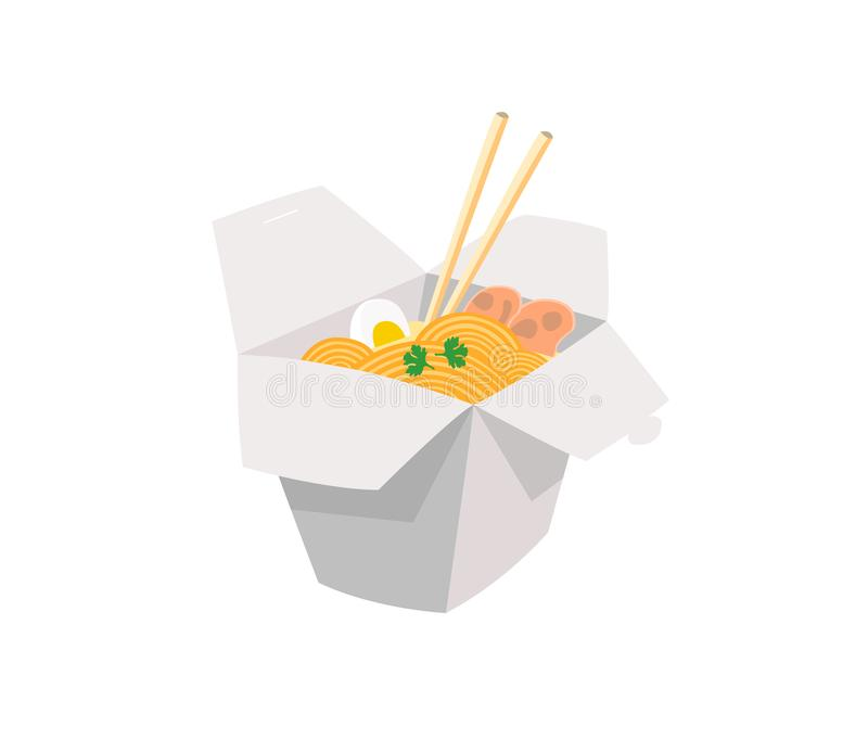 Noodles are packed in paper boxes isolated on white background. Noodles in a box royalty free illustration