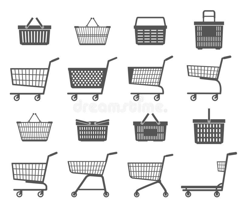 Set of shopping trolleys and shopping baskets. Isolated on white background. vector illustration