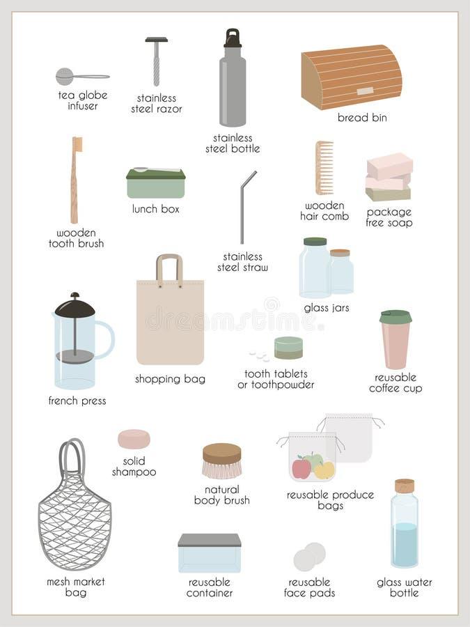 Zero waste and minimalism royalty free illustration