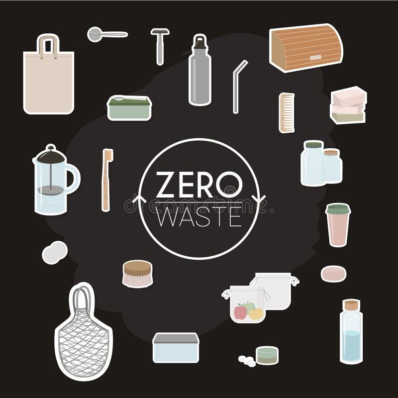 Elements of zero waste and minimalist lifestyle vector illustration