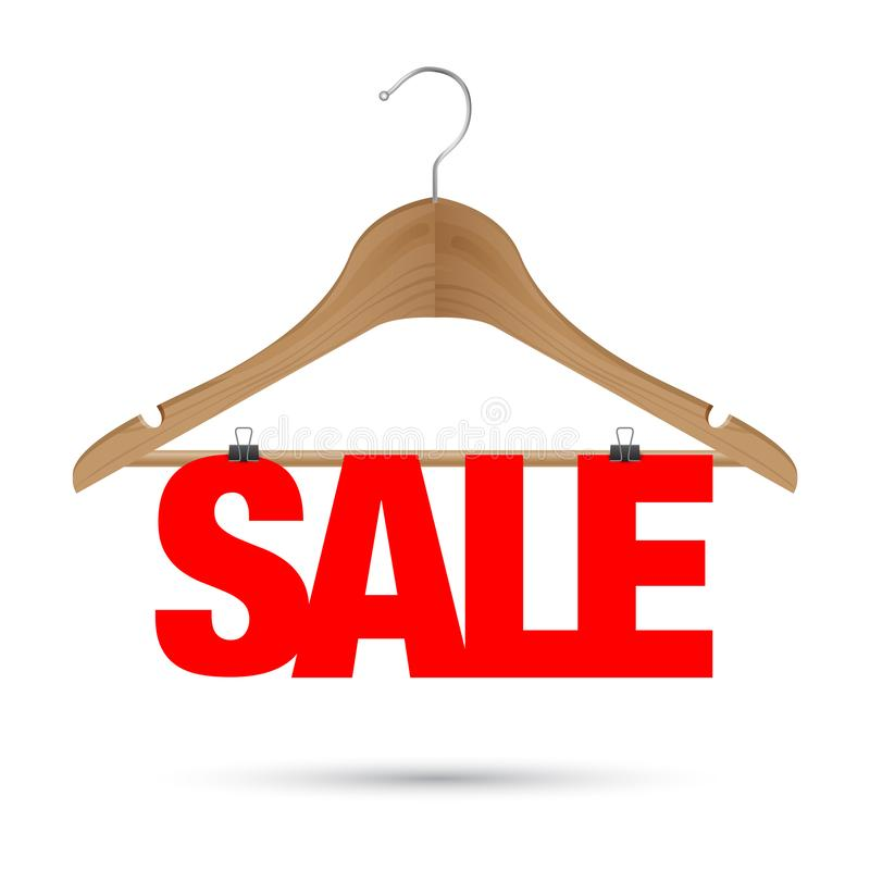 Sale sign on a wooden hanger. A Sale sign on a wooden hanger royalty free illustration
